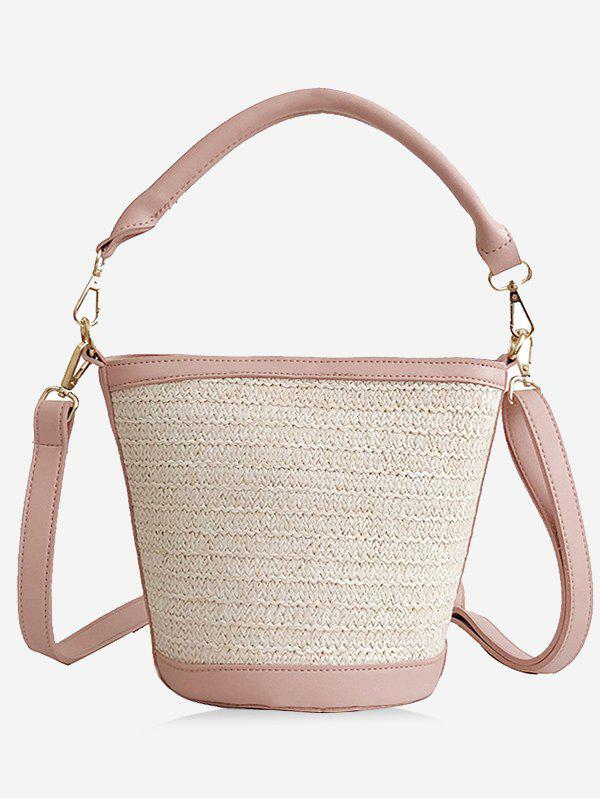 Straw Holiday Style Bucket Tote Bag bucket shaped straw tote bag
