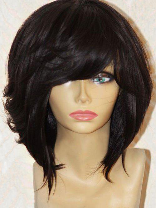 Short Inclined Fringe Straight Heat Resistant Synthetic Wig - BLACK