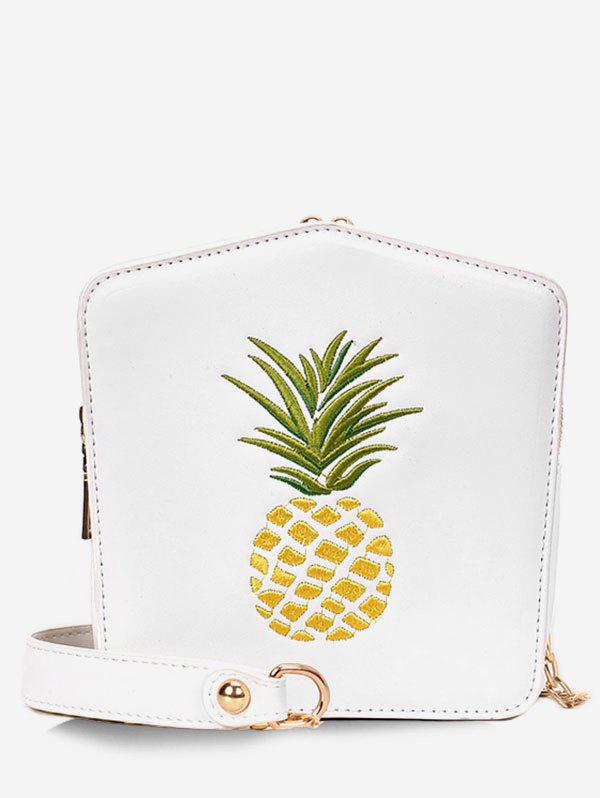Pineapple Embroidery Chain Bag - WHITE