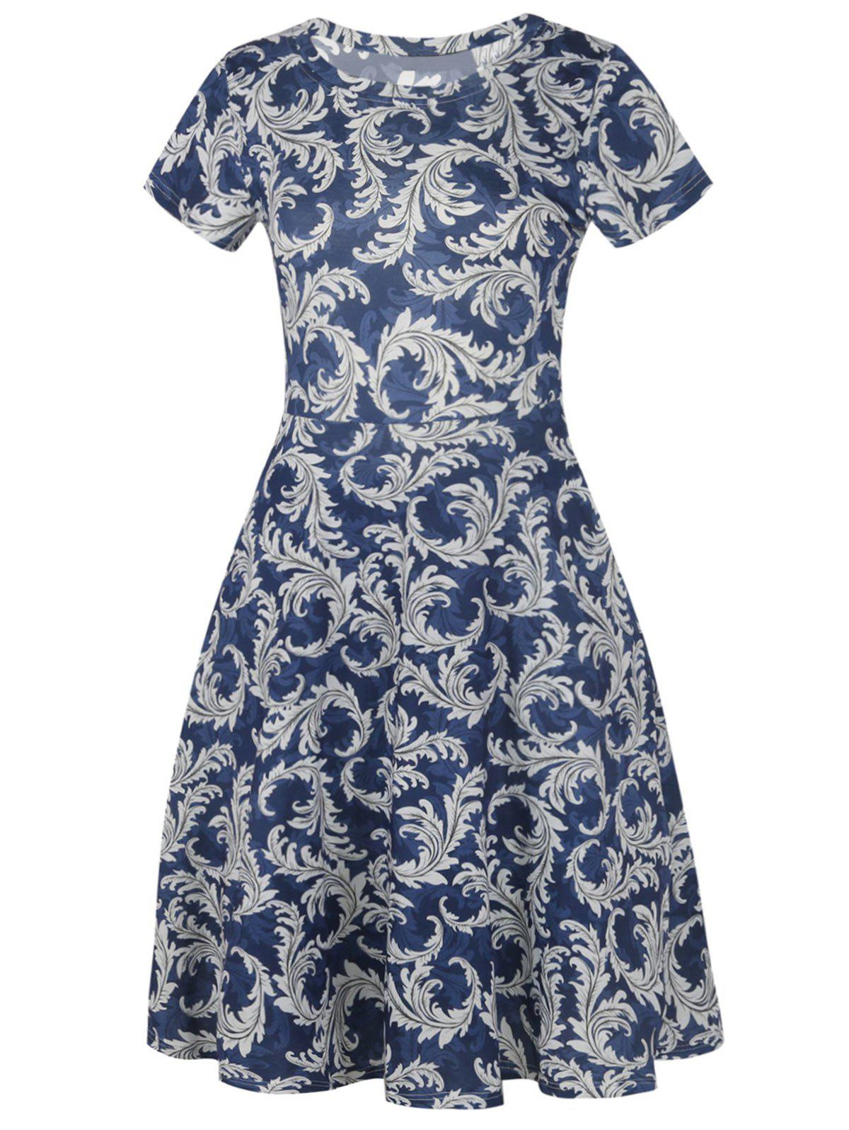 Printed Short Sleeve Vintage Fit and Flare Dress printed long sleeve fit and flare dress