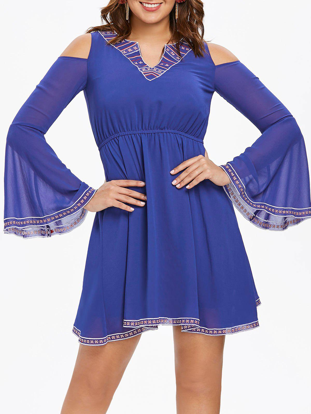 Flared Sleeve Mini Swing Dress - BLUE 2XL