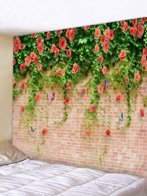 Floral Brick Wall Print Hanging Tapestry Art - multicolor W91 INCH * L71 INCH