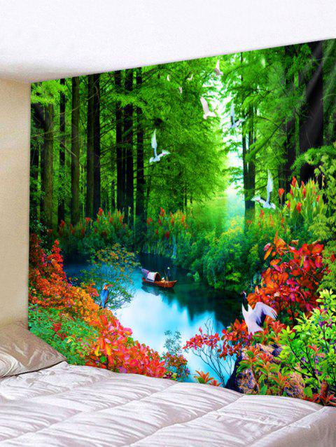 Boat in the Forest Print Wall Hanging Tapestry Art - multicolor W91 INCH * L71 INCH