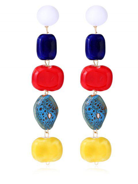 Colorful Beaded Alloy Dangle Earrings - multicolor