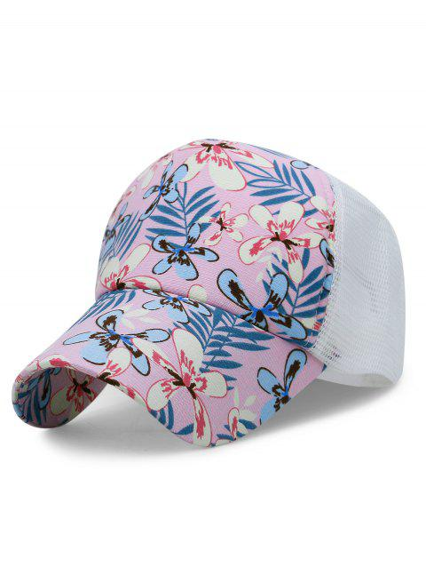 Floral Pattern Decorative Mesh Graphic Hat - LIGHT PINK