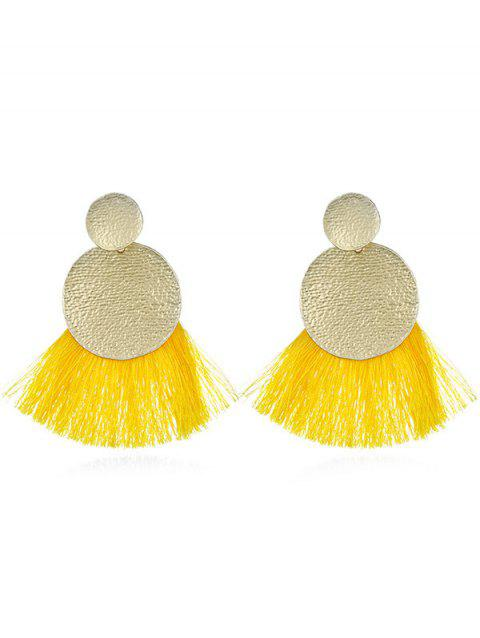 Fan Designed Tassel Decoration Drop Earrings - YELLOW
