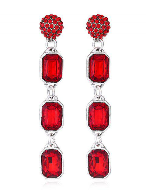 Geommetric Shaped Artificial Crystal Hanging Earrings - RED