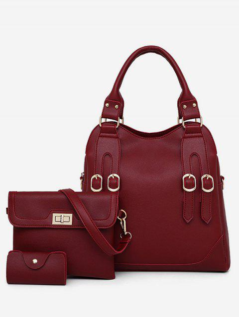 3 Pieces Crossbody Bag Hand Bag and Card Bag - RED WINE