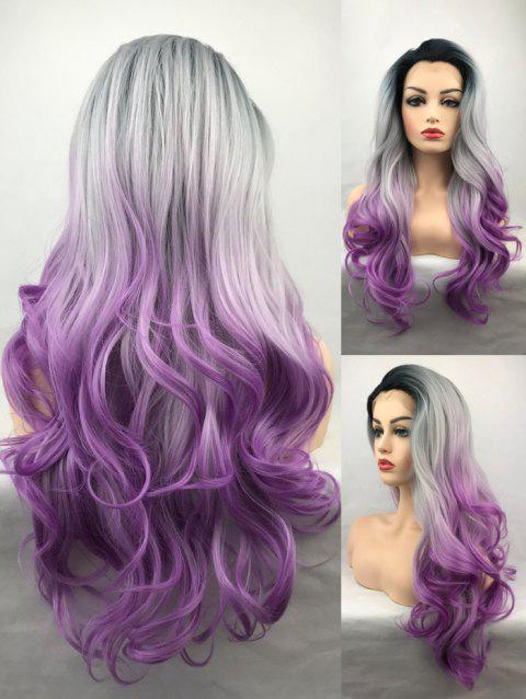 Long Free Part Wavy Ombre Synthetic Lace Front Wig - multicolor