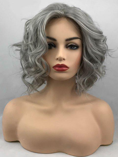 Short Inclined Bang Wavy Lace Front Synthetic Wig - GRAY GOOSE