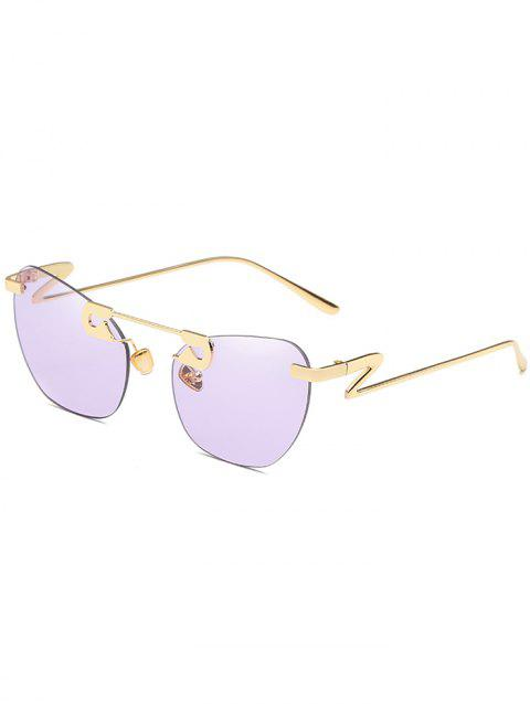 UV Protection Irregular Legs Rimless Sunglasses - MAUVE