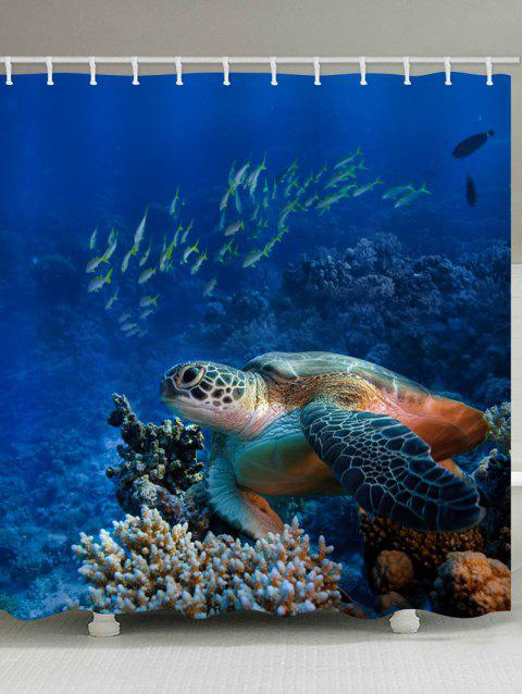 Sea Turtle Fish Print Waterproof Shower Curtain - SAPPHIRE BLUE W71 INCH * L79 INCH