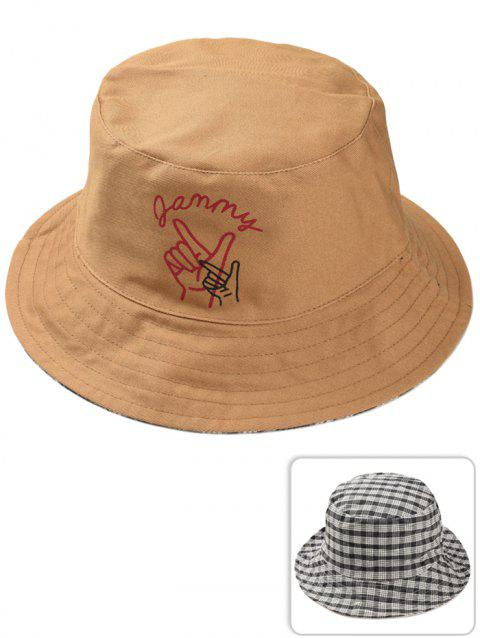Outdoor Gesture Finger Pattern Reversible Bucket Hat - CARAMEL