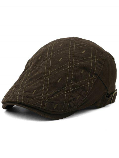 Outdoor Rhombus Embroidery Cabbie Hat - COFFEE