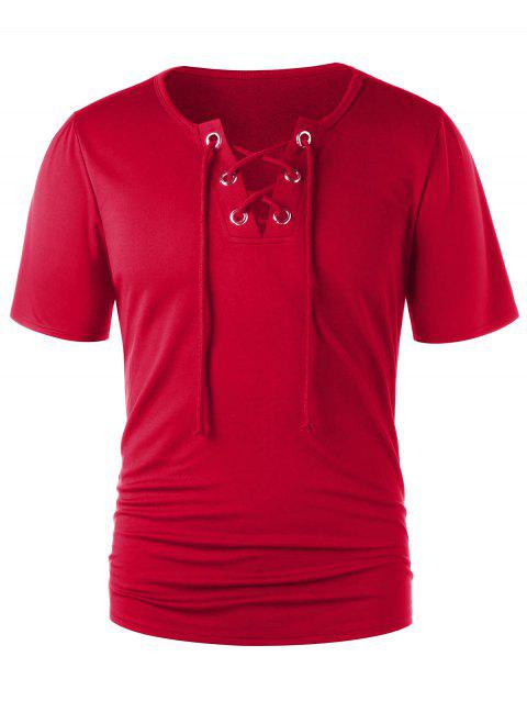 Classic Lace Up Short Sleeve T-shirt - LOVE RED 2XL
