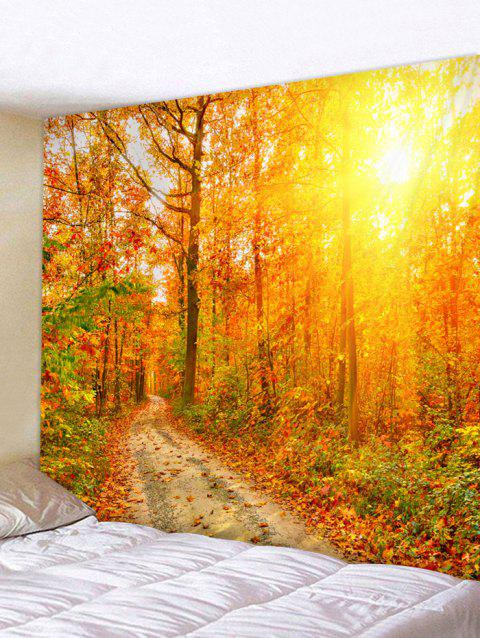 Maple Forest Path Print Tapestry Wall Art - SAFFRON W91 INCH * L71 INCH