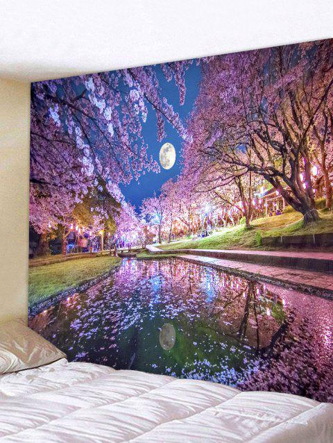 Sakura Moon Print Tapestry Wall Art Hanging Decoration - PERIWINKLE W79 INCH * L59 INCH