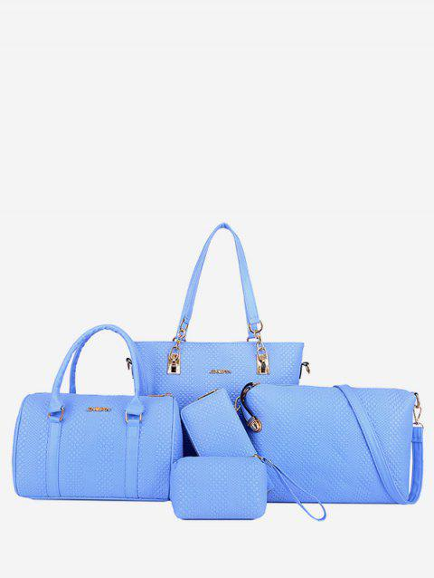 Large Capacity Braid 5 Pieces Shoulder Bag Set - DENIM BLUE