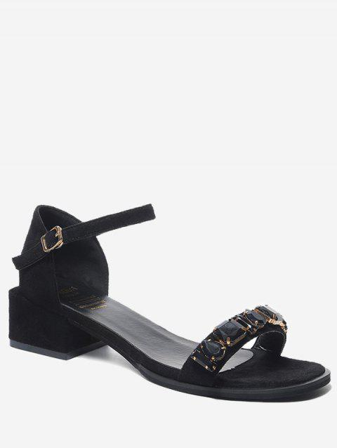 Chunky Heel Ankle Wrap Chic Sandals - BLACK 38