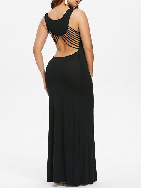Strappy Cut Out Maxi Prom Dress - BLACK M