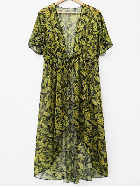 See Through Leaf Print Cover Up - YELLOW S