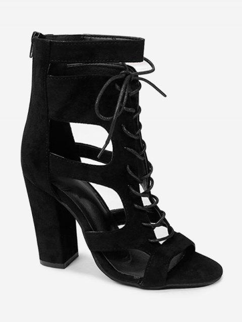 Party Chunky Heel Crisscross Cut Out Sandals - BLACK 39