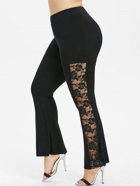 Plus Size Lace Insert Flare Pants - BLACK 1X