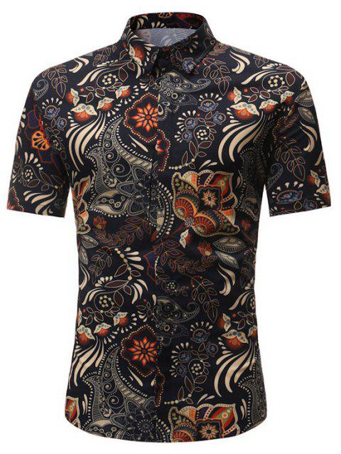 Floral Leaf Pattern Button Up Hawaiian Shirt - DEEP BROWN L