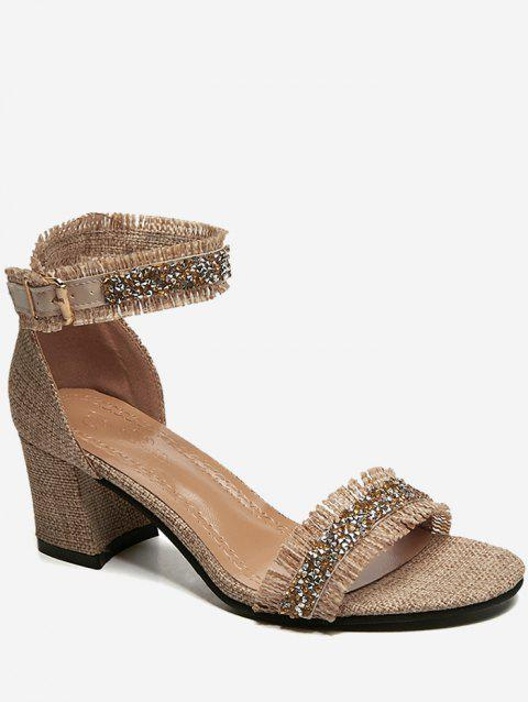 Faux Crystal Detail High Heel Sandals - CAMEL BROWN 37