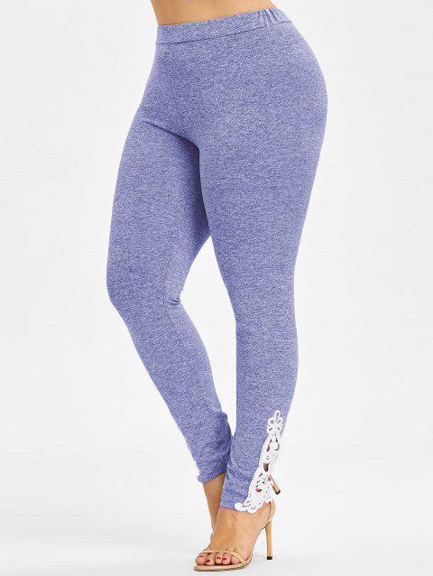 High Waisted Plus Size Leggings - CROCUS PURPLE L