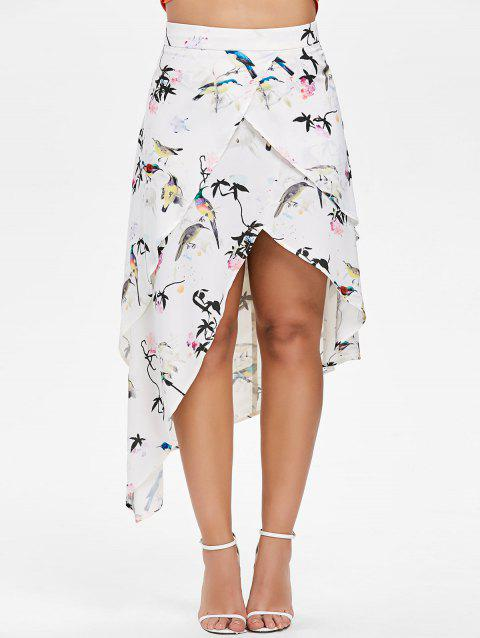 High Waisted Asymmetrical Printed Skirt - WHITE M