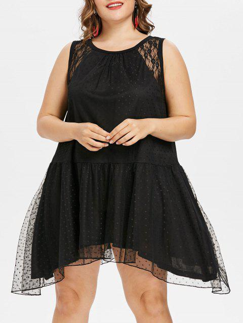 Plus Size Asymmetrical Lace Dress - BLACK 1X