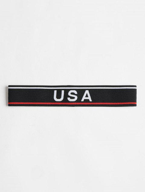 USA Graphic Athletic Workout Sweat Headband - BLACK ONE SIZE