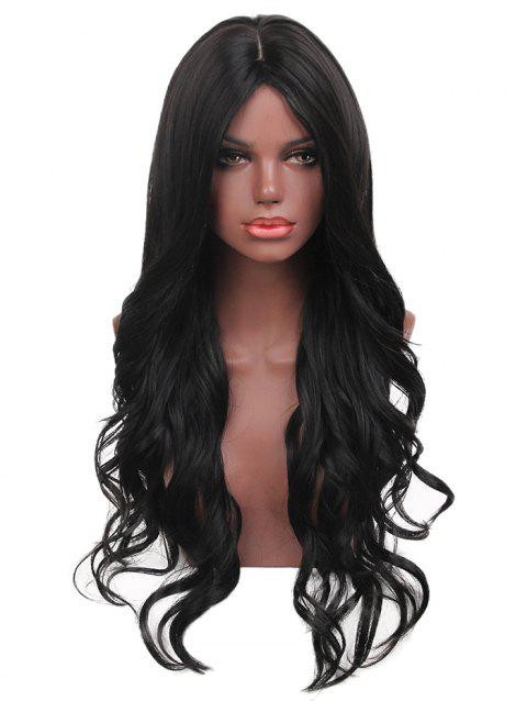 Long Center Parting Synthetic Wavy Wig - BLACK