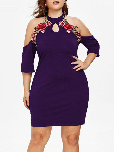 Plus Size Flower Applique Keyhole Dress - PURPLE MONSTER 5X