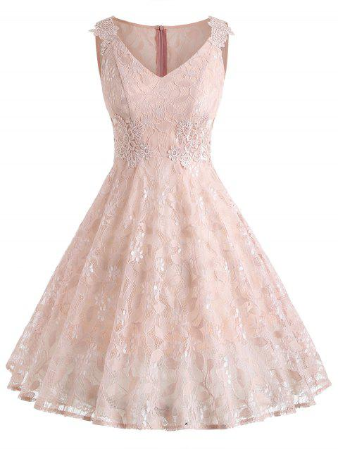 Sleeveless A Line Full Lace Dress - LIGHT PINK M
