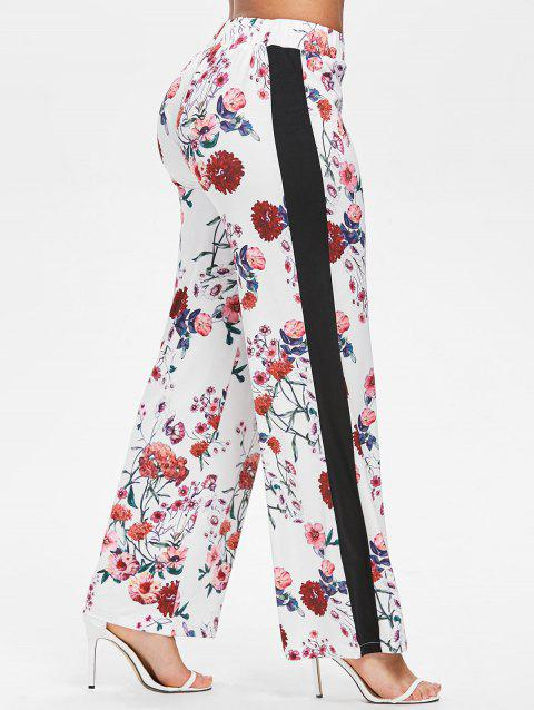 Side Stripe Floral Pants - WHITE S