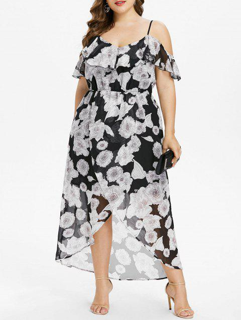 fdd673bf23 17% OFF  2019 Plus Size Floral Foldover Maxi Flowing Dress In BLACK ...