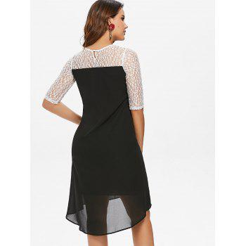 Two Tone Lace Chiffon Sheer Dress - BLACK XL