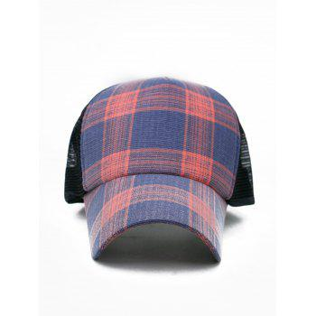 Outdoor Plaid Printed Mesh Sunscreen Hat - LOVE RED