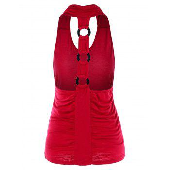 Ruched O Rings Racerback Tank Top - RED 2XL
