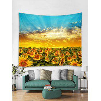 Sunlight Sunflower Print Tapestry Wall Art - multicolor W91 INCH * L71 INCH