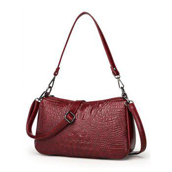 PU Leather Embossing Crossbody Bag - RED WINE