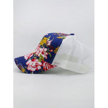 Outdoor Floral Printed Mesh Graphic Hat - COBALT BLUE