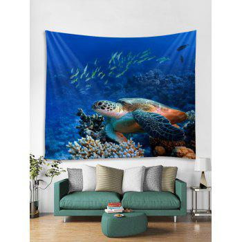 Sea Turtle Fish Print Tapestry Wall Art Hanging Decoration - COBALT BLUE W59 INCH * L51 INCH