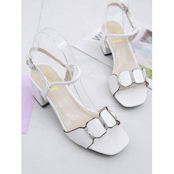 Chunky Heel Casual Party Ankle Wrap Sandals - WHITE 39