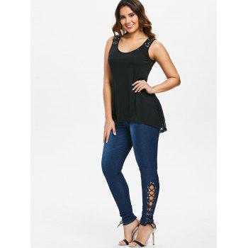 Skinny Lace Up Jeans - DEEP BLUE S