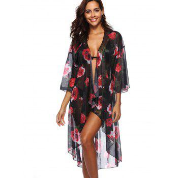 Floral Print Beach Cover Up - BLACK ONE SIZE