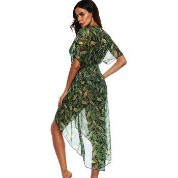 See Through Leaf Print Cover Up - SEA GREEN S