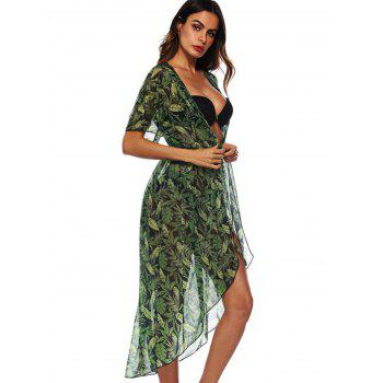 See Through Leaf Print Cover Up - SEA GREEN L